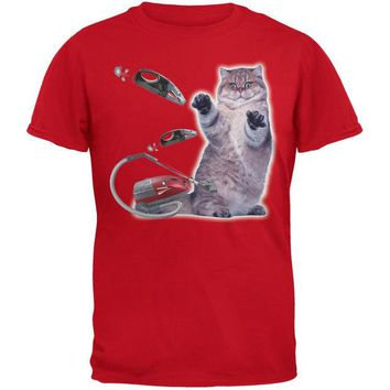 VONEG5F Galaxy Cat Vacuum Red Youth T-Shirt
