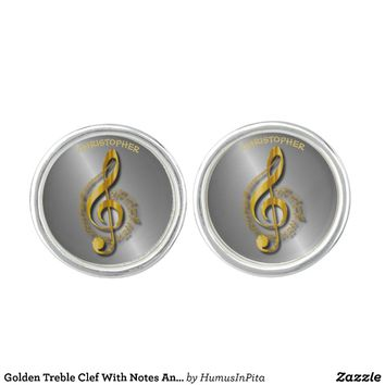 Golden Treble Clef With Notes And Shadows Cufflinks