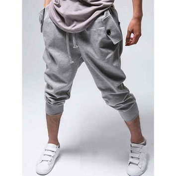 Light Grey Cotton Harem Men Short Pant  [9305659847]