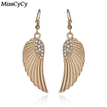 MissCyCy Fashion Gold Color Earrings For Women Pending Rhinestone Alloy Wings Drop Earrings Female Brincos From India
