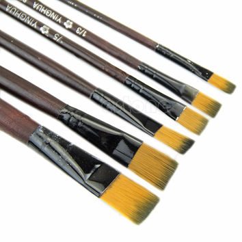 New Art Artist Supplies 6 Brown Nylon Paint Brushes