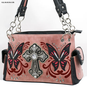 WESTERN RHINESTONE HANDBAG CONCEALED CARRY PURSE In Pink