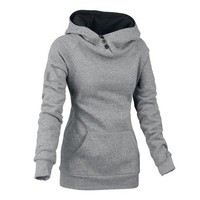 Color Block Front Pockets Long Sleeve Hoodie