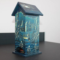 Harry Potter Hogwarts Hand Painted Wooden Tea Box Wizard World Magic Tea Bags Holder Tea House Box Tea Bag Box Kitchen Art Rowling JaN:)Art