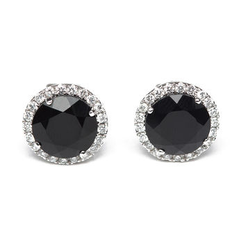 Anna Beth Black Onyx And Diamond Studs
