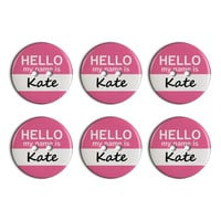 Kate Hello My Name Is Plastic Resin Button Set of 6