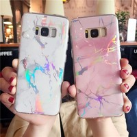 LOVECOM Fashion Laser Marble Texture Phone Case For Samsung Galaxy S7 Edge S8 S9 Plus Note 8 Soft IMD Phone Back Cover Coque