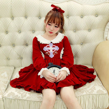 Princess sweet lolita dress BoBON21 Original winter dress Vintage cross Counter attack angel Doll brought knitting dress D1274
