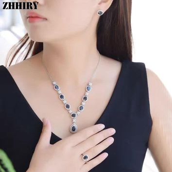 Natural Sapphire Gemstone Jewelry Set Genuine Solid 925 Sterling Silver Women Ring Necklace Earring ZHHIRY