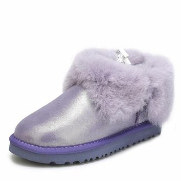 UGG: Fashion Women Men Winter Four-Leaf Fur Snow Boots Warm Anti-Skid Short Boots Purple