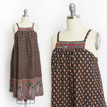 Vintage 1970s Dress - Paisley Printed Cotton Hawaiian Liberty House Tent Dress - Small