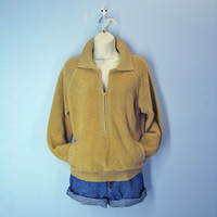Vintage Gold Sweater / 1960s Tufted Chenille Jacket