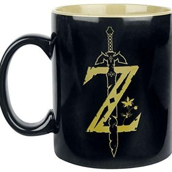 UST FUNKY The Legend of Zelda (LOZ), Black Ceramic Coffee Mug, with Two Tone Colored Artwork and Inside Printing, 16 oz