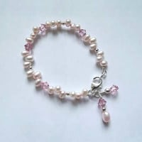 Two Orange Cats Jewelry- Pink Freshwater Pearl Bracelet