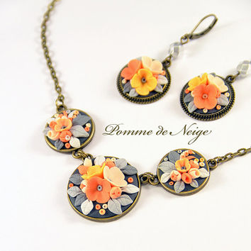 Floral necklace applique Polymer clay jewelry Orange Gray Pendant applique Romantic Jewelry