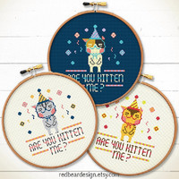 Quote Kawaii cat cross stitch pattern - Are You Kitten Me? - Xstitch Instant download - cute cats kittens modern funny love home decoration