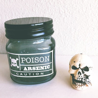 Poison Glass Jar - Halloween decor - Candle Holder - Makeup Holder - Decor - Candy Jar - Statement piece - Vintage decor