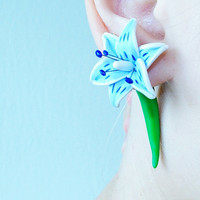 Blue Lily Custom Gauges Plugs Expanders 8g, 6g, 5g, 4g, 2g, 0g, 00g, 7/16, 1/2, 9/16, 5/8, 3/4, 7/8, 1 inch earrings flower polymer clay