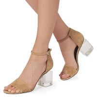 Abby Lucite Heel Clay Sandals