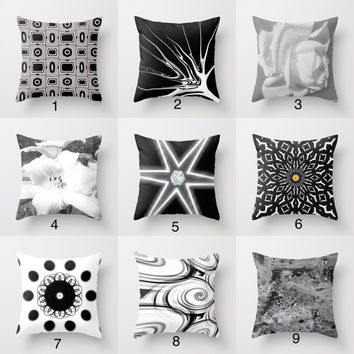 """Throw Pillow Cover,""""Black and White""""16x16 inches,home decor design,decorative pillow, black color,abstract art,black and white pillows"""