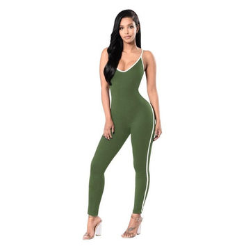 Women Lady V Neck Clubwear Bodycon  Jumpsuits For Women  Bodycon Sleeveless Fitness Sling Jumpsuit Long Pants #63 BL