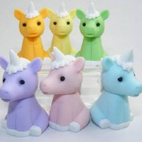 IWAKO SET OF 6 JAPANESE UNICORN ERASERS - NEW COLORS!