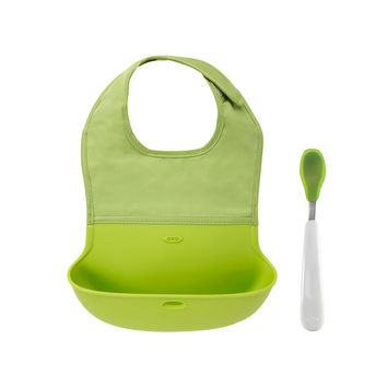 OXO Tot On-the-Go Bib and Spoon Set - Green