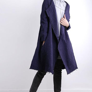 one button Large lapel Purple Long Windbreaker coat