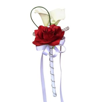 Wand - Two Real Touch Calla Lilies with One Open Rose *Pick Your Colors*- Artificial Flowers