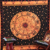 Indian Astrology Zodiac Sign Tapestry Horoscope Bed Spread