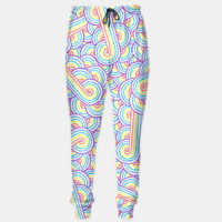 Rainbow and white swirls doodles Sweatpants, Live Heroes