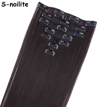S-noilite 7 Piece 22 inches Long Clip in Hair Extensions Full Head Clip on Hair Extentions Real Thick Synthetic Hairpiece