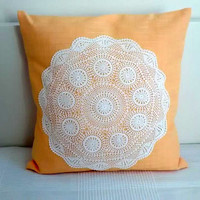 Lace pillow cover, fabric pillow, vintage crochet lace pillow, throw pillow