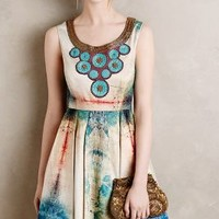 Villette Necklaced Dress by Bhanuni Turquoise