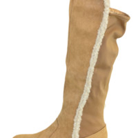 Camel Faux Suede Boots With Faux Fur Lining