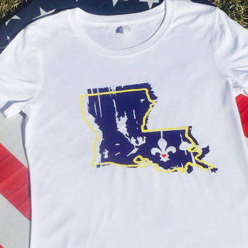 Louisiana tshirt, purple and yellow, gold black and white, womens tshirts, unisex tshirts, State of Louisiana shirts