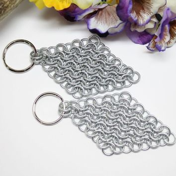 Chainmail Handmade Diamond Shape Keychain Set of 2 Galvanized Steel Maille