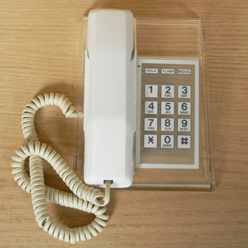 Rare Vintage Clear Lucite and White Push Button Phone