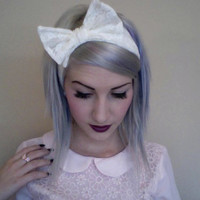 White LACE BOW TURBAN headband head wrap snow white wedding