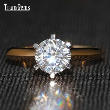 TransGems 1 Carat Lab Grown Moissanite Diamond Solitaire Wedding Ring 6 Prongs Women Classic Engagement Solid 14K Two Tone Gold