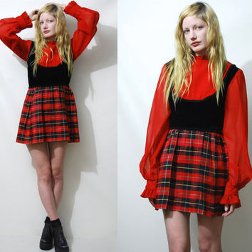 60s 70s Vintage MINI DRESS Tartan Plaid Black Velvet Sheer Red Long Sleeve Ruffle Mod Hippie Highwaisted 1960s 1970s vtg S