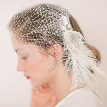 Vintage Feathers & Pearls - A Vintage Champaign Feather and Peals Birdcage Wedding Veil