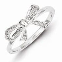 Sterling Silver w/Rhodium Plated Diamond Bow Ring