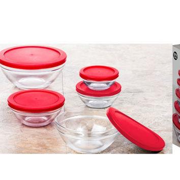 imperial home glass bowl set with lids - red 10 piece set Case of 12