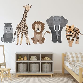 Large Safari Animal Wall Decals, Nursery Decals, Jungle Wall Stickers
