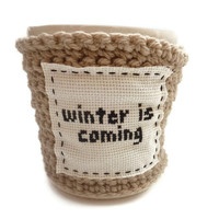 Coffee Cozy Crochet  Winter Is Coming  Game of by tessacotton