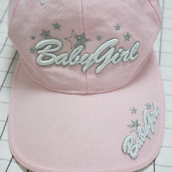 90's Tumblr Baby Girl Cap, Embroidered Silver Metallic Star Cyber Angel Pink Soft Grunge Cap, Sporty Girl, Clud Kid, Aesthetic, Vapor Wave