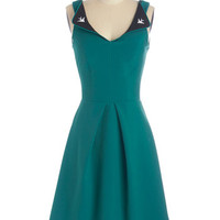 ModCloth Vintage Inspired Long Sleeveless A-line A Lovely Pair Dress