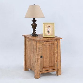 Willow Rustic Chairside Cabinet Distressed Pine