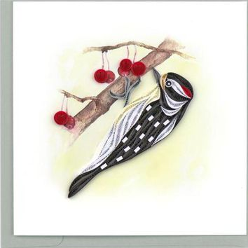 Quilling Card Downy Woodpecker Greeting Card